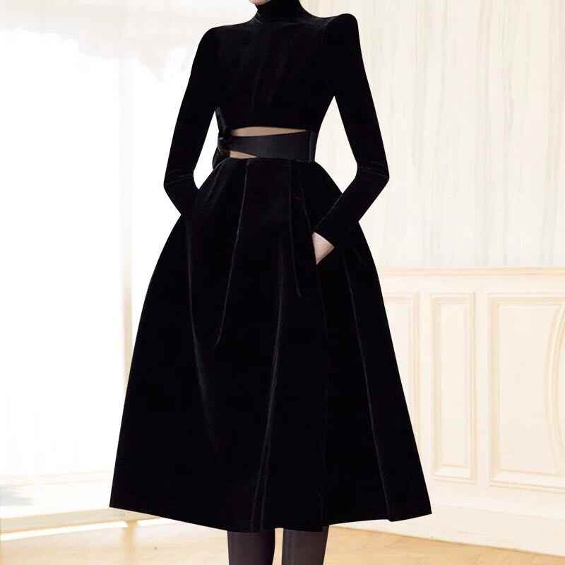 HAMALIEL взлетно-посадочной полосы зимние Для женщин большие качели вечерние платья модные черные бархатные с сеткой в стиле «пэтчворк со стоячим воротником платье сексуальное открытое платье Vestido