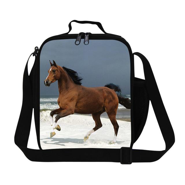 Personalizada Ferghana horse bolsas de almuerzo para los niños de la escuela, enfriar felpa caballo de hombre bolso del almuerzo, alimentos de hombro bolsa, honda meal bag para el adulto