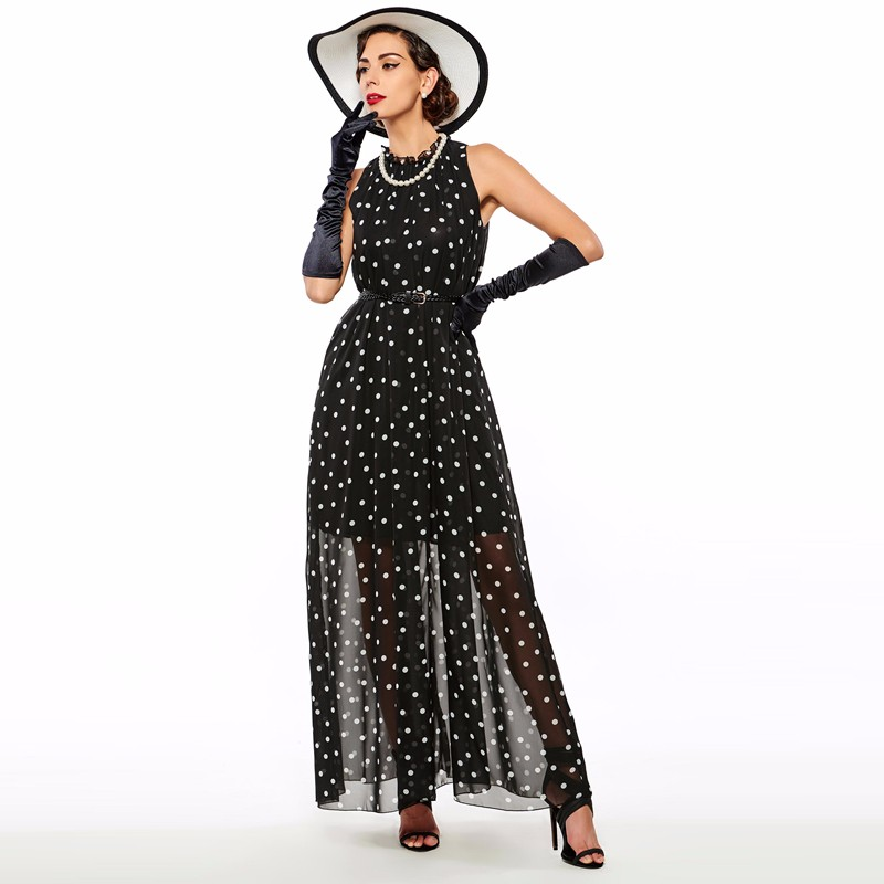 Sisjuly women maxi fashion polka dots maxi dress long casual summer beach chiffon party black dresses style elegant maxi dress 11