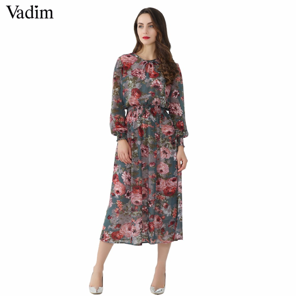 Vadim women floral chiffon dress two pieces set long sleeve elastic waist mid calf o neck casual brand dresses vestidos QZ3200 floral chiffon dress long sleeve