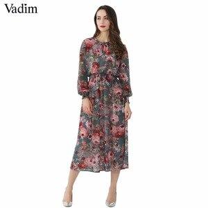 Image 1 - Vadim vrouwen bloemen chiffon jurk twee delige set lange mouwen elastische taille mid calf o hals casual brand jurken vestidos QZ3200