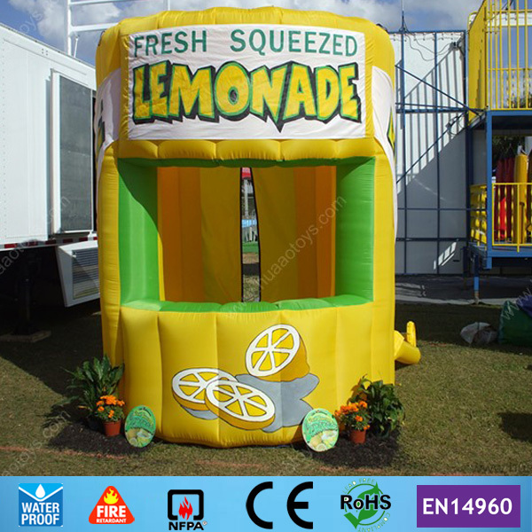 Cheap On Sale Yellow Tent Inflatable Lemonade Booth with Free Banners and CE blower