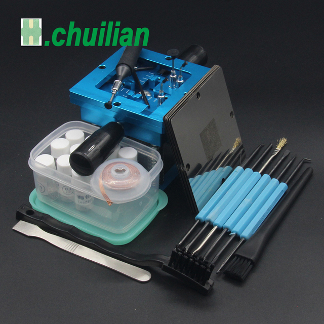 Mavi BGA reballing kiti 90*90mm BGA reballing istasyonu el sapı ile hediye 10/adet BGA evrensel şablon
