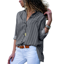 2019 New Arrival Women Shirts Autumn Striped Button Womens Tops And Blouses Casu
