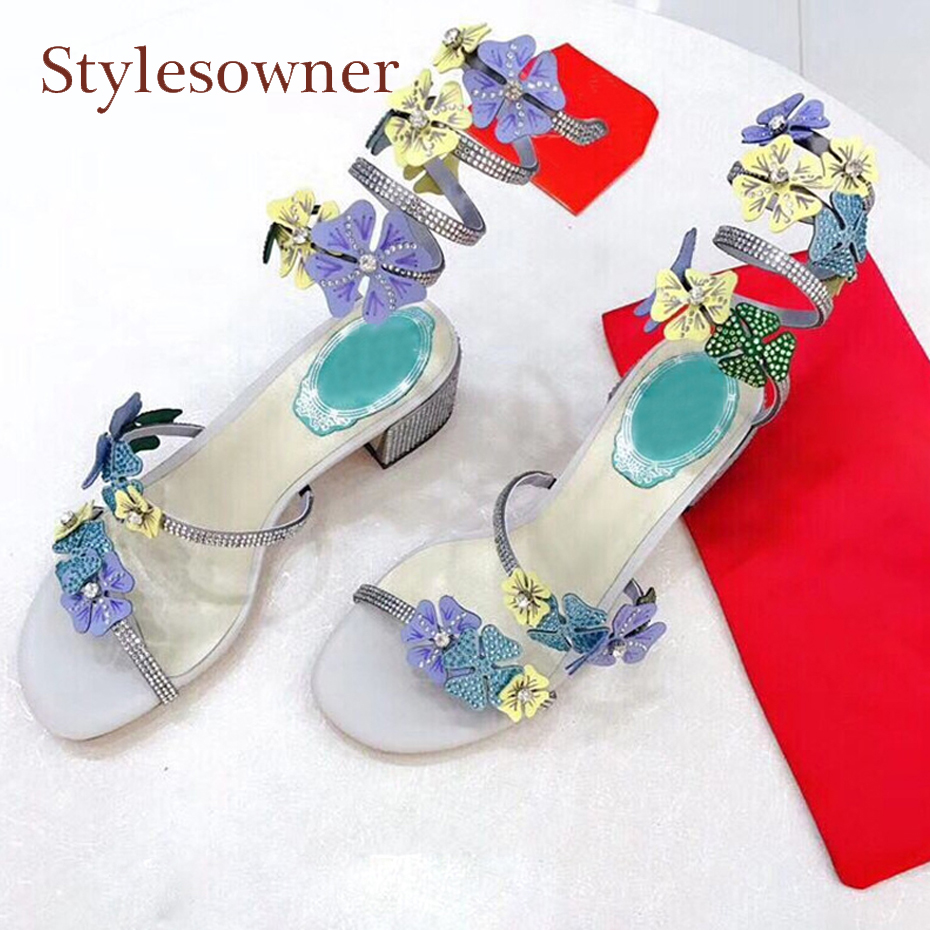 Stylesowner new design flowers snake ankle strap diamond gladiator sandals for women crystal stud chunky heel party wedding shoe 100% new bd82qm67 slj4m bga chipset