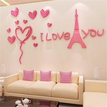 Romantic Paris 3d stereo wall stickers Modern Living room bedroom background DIY Acrylic Stickers Decal Wedding