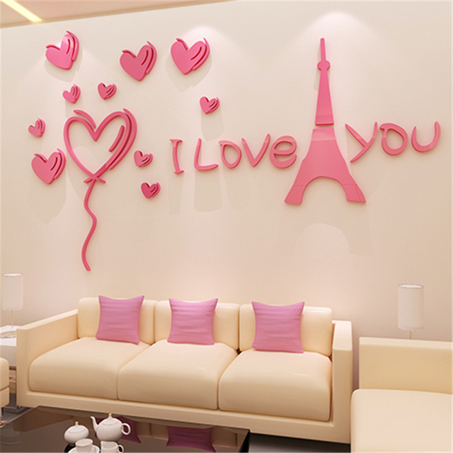 Romantic Paris 3d stereo wall stickers Modern Living room bedroom ...