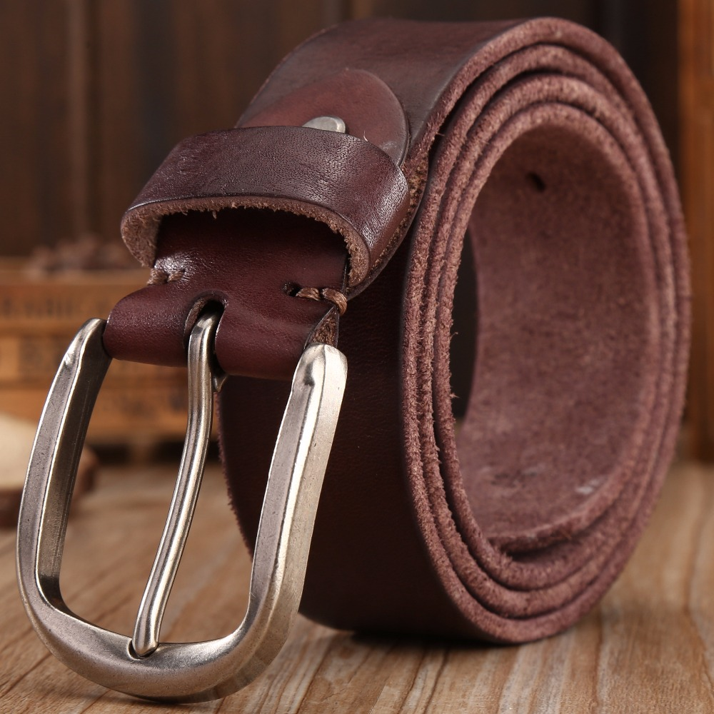 2018 new hot designer ceinture hommes de haute qualité pleine fleur 100% réel en cuir véritable ceinture de luxe café brun ceinture naturel 3.8