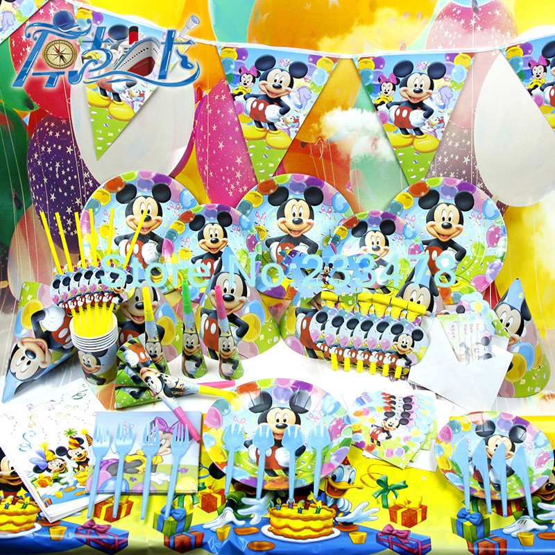 78pcs kids birthday party decoration set birthday mickey for Baby tv birthday decoration