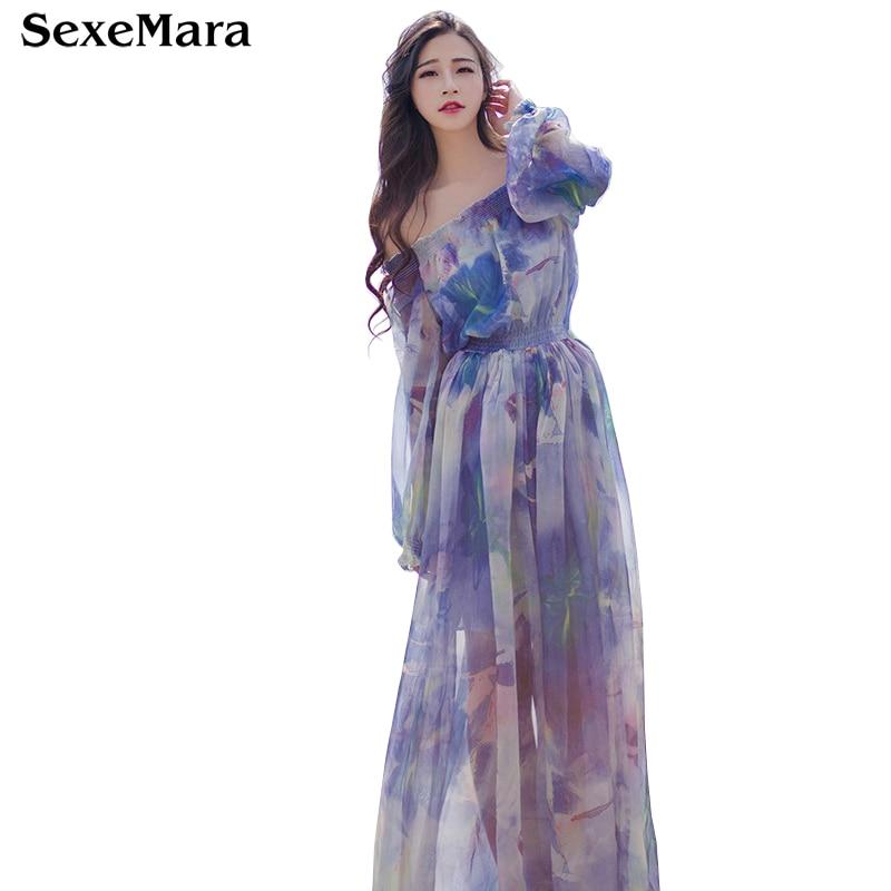 05aa2fc1c6be SexeMara Beach Floral Print Chiffon Hawaiian Long Dresses Sexy Women 2017 Off  Shoulder Maxi Dress Split Boho Style Summer
