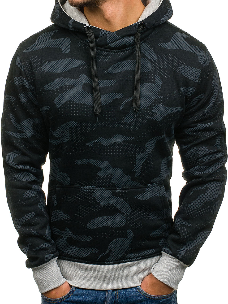 Mens Long Sleeve Camouflage Hoodie Zipper Sweatshirt Tops Jacket Coat Outwear
