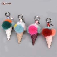 Free Shipping Fluffy Fur Lce Cream Keychain For Women Real Mink Furs Ball Pompom Key Chain Car Bag Keyring Pendant 4 Colors