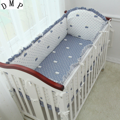 Promotion! 5PCS Cartoon Baby Crib bumpers for cot Cotton Fabrics Crib Baby Bedding Sets,include:(4bumper+sheet )
