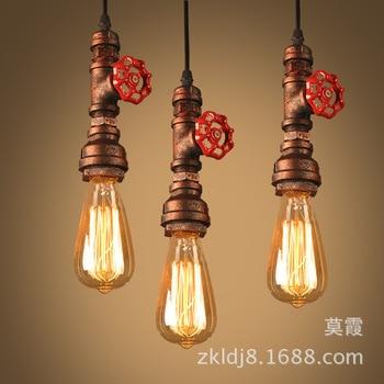 Loft industrial Iron water Pipe steam punk Vintage pendant lamp cord E27 led pendant lights for bedroom bar restaurant kitchen