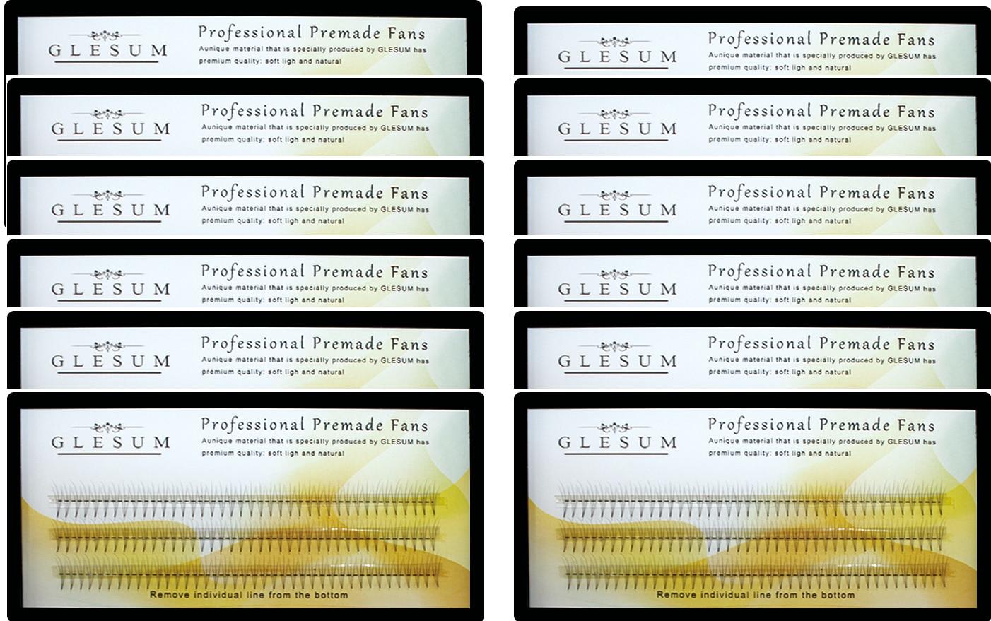Glesum 10 Trays Set Volume 3D/4D/5D eyelashes C Curl Short-Stem Pre Made Fans, Silk Soft Lash Extension, False Mink Lashes