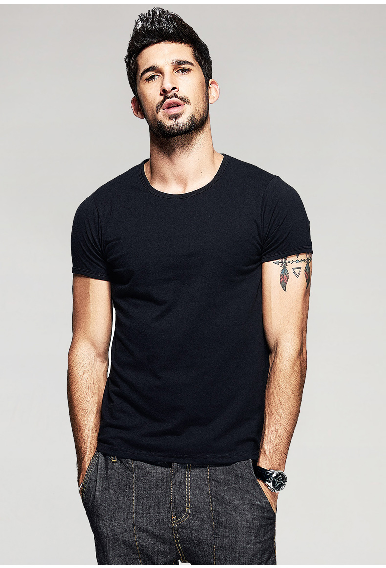 KUEGOU Summer Mens Casual T Shirts 10 Solid Colors Brand Clothing Man's Wear Short Sleeve Slim T-Shirts Tops Tees Plus Size 601 19
