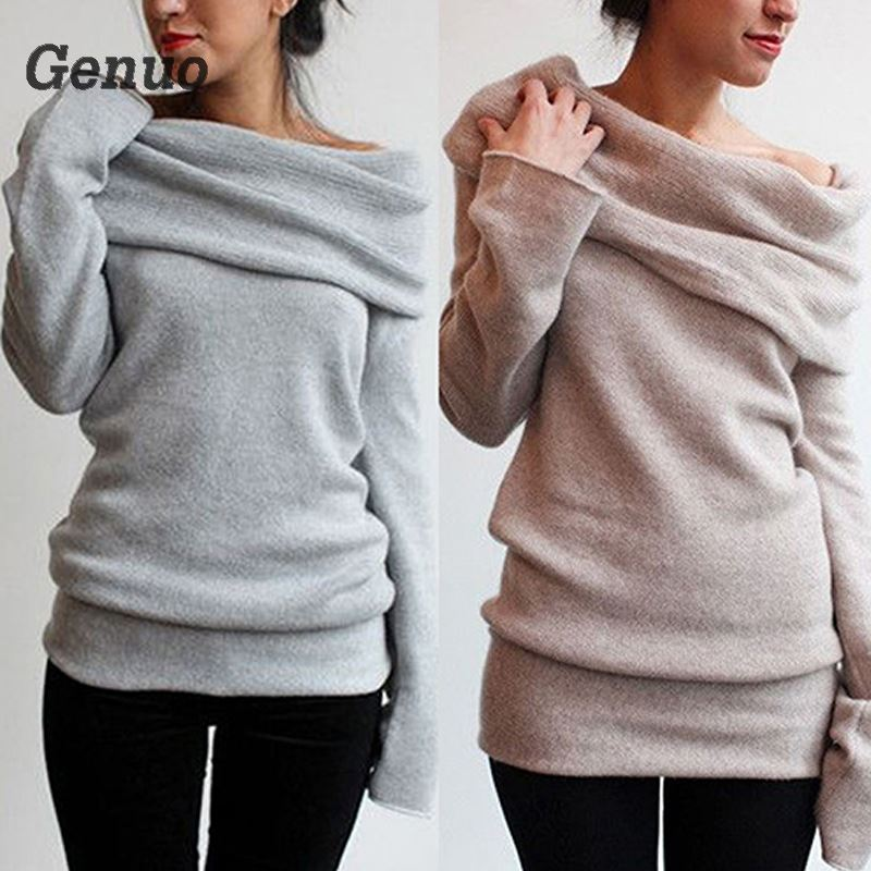 Genuo Women sweaters Autumn pullovers for women Sexy lady Off Shoulder Roll Neck Long Sleeve Knitted Jumper Sweater Pullover in Pullovers from Women 39 s Clothing