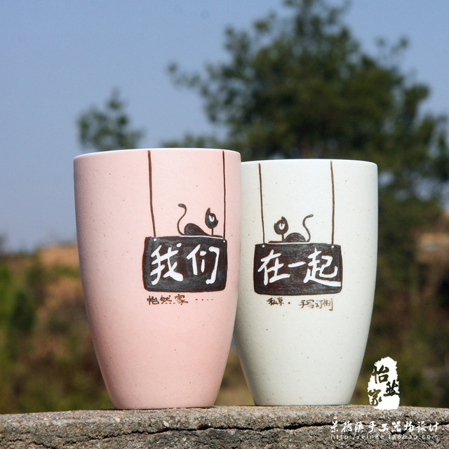 Jingdezhen Valentines Day Gift Ideas Customized Cup Mark Lettering Painted Ceramic Cat Lovers Birthday