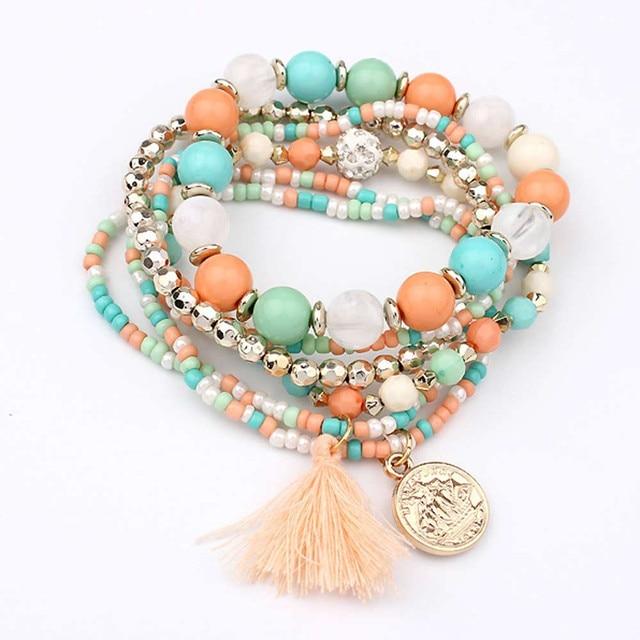 Women Fashion bracelet Multilayer Beads Bangle Tassels Bracelets beaded tassel bracelet Gift for women ladies