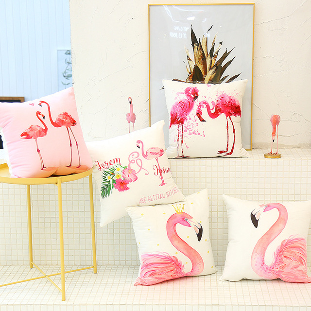 Bedroom Cute Flamingo Cushion Pillow Case Flamingo Party Bedroom Sofa Home Decoration accessories Birthday/Wedding Favors and Gifts Accessories