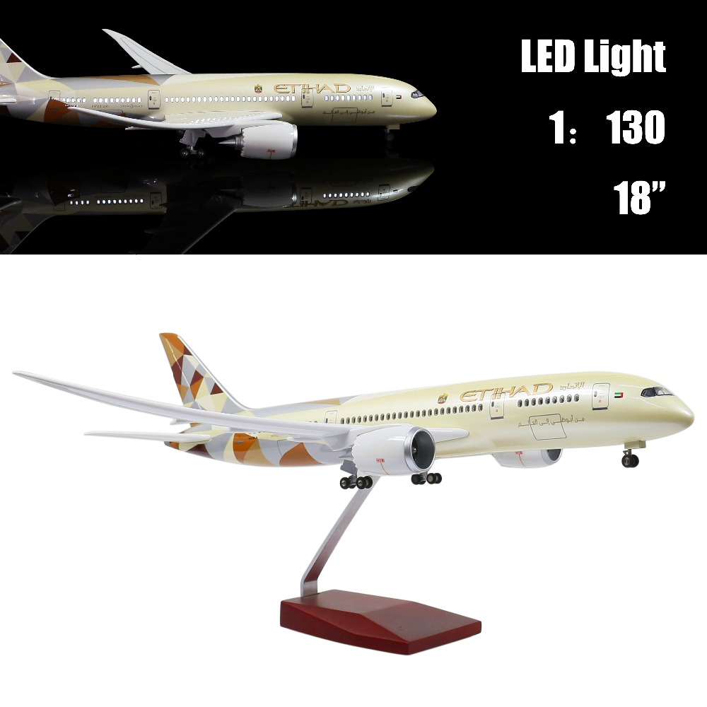 Mini 44 CM 1:130 Airplane Model Etihad 787 with LED Light(Touch or Sound Control) for Decoration or Gift cybernetics or control