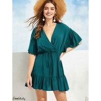 Women Boho Solid Swing Mini Dress Beachwear Loose Tie Beach Summer Sundress Women Ruffles V Neck mini dress ladies dresses