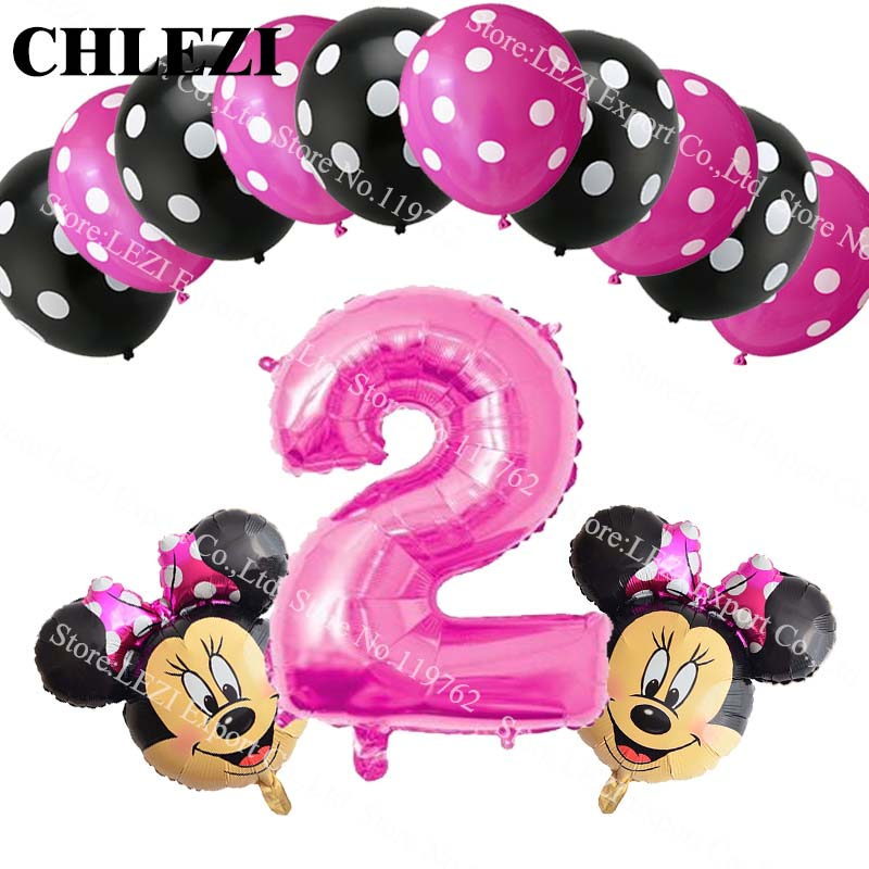 13pcs lot baby 2 year Minnie Mickey theme party decor suit balloons birthday party Dot latex