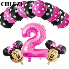 13pcs/lot baby 2 year Minnie Mickey theme party decor suit balloons birthday party Dot latex balloons baby kid toys baby shower
