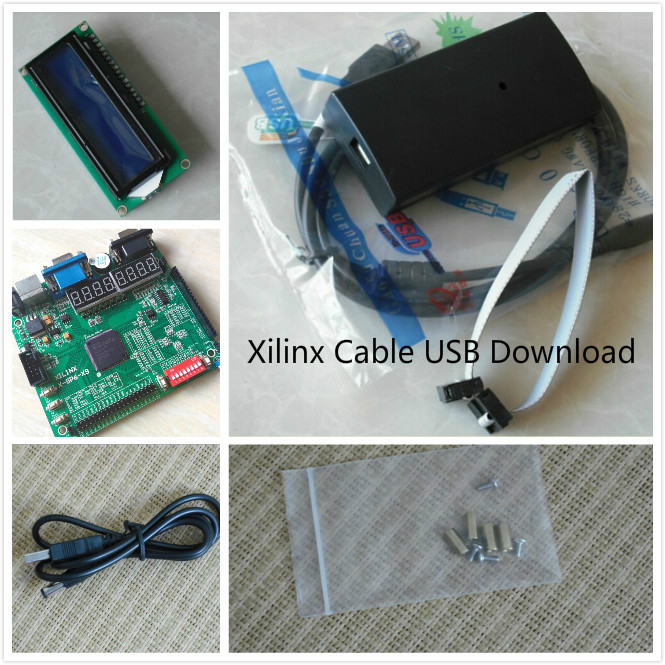 Xilinx Platform Cable USB+LCD1602+ xilinx fpga development board  spartan-6 xilinx board xilinx kit xc6slx9-tqg144 favourite 1602 1f