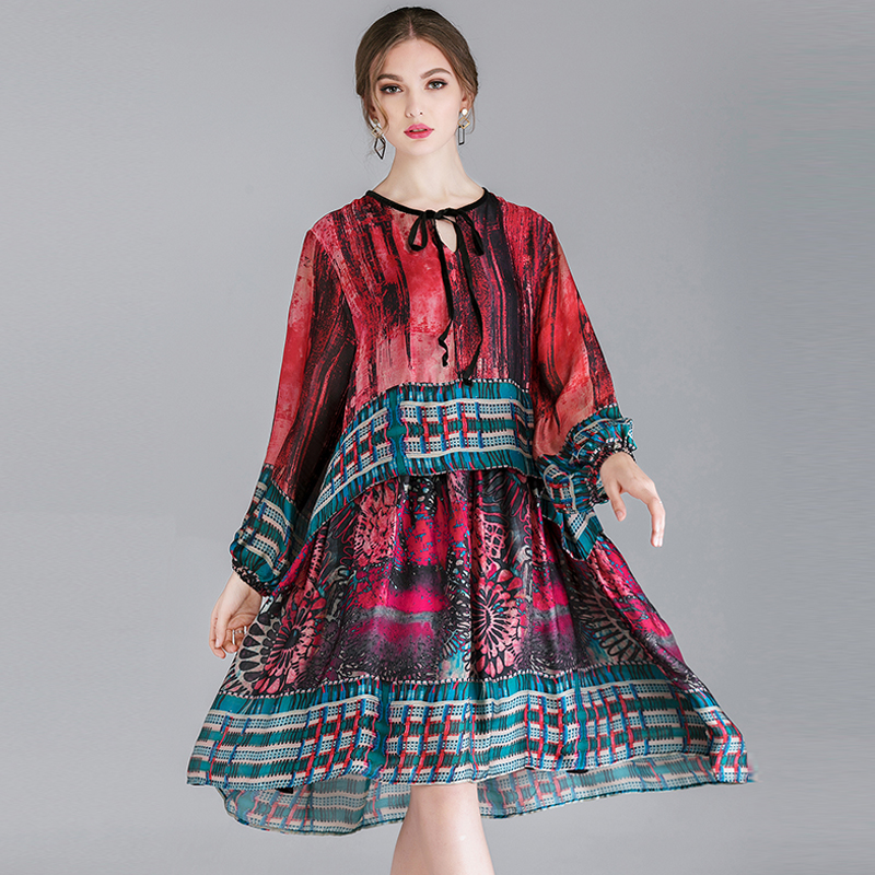 Large size ladies fashion Chinese style printing dresses womens casual loose high waist crew neck Elegant dress spring new long