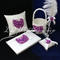 Set of 4pc White with Purple rose Satin Wedding Guest Book Ring Pillow Flower Basket Feather Pen Holder Sets WS76