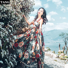 Tang women summer dress 2019  sling Floral maxi dresses boho vacation lace beach