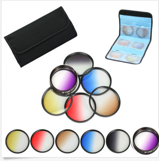 58mm 6pcs Graduated Grey+blue+green+purple+yellow+red Color ND Neutral Density Filter Kit case For canon 18-55 nikon sony lens stiony с2w 18 green grey