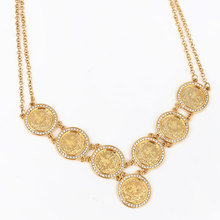 Turkey Coins Arab Coins crystal islam muslim  55 cm necklace Turks Africa Party jewerly