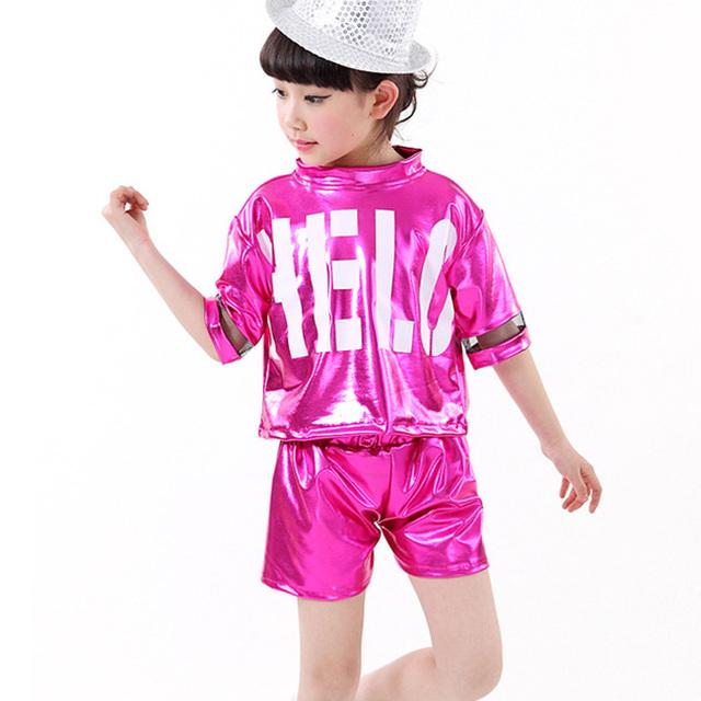 Nueva muchacha de la Llegada Niños Dancewear Calle Mondern Trajes de Danza Jazz Hip Hop Danza Ropa Set Top y Pantalones de Entrenamiento tamaño 110-160