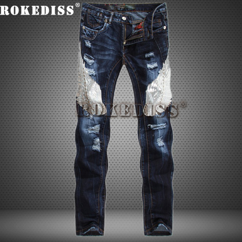 цена на Europe and the United States Men's blue jeans Eagle Pattern Splicing Slim Straight Fashion Jeans Ripped jeans for men B110