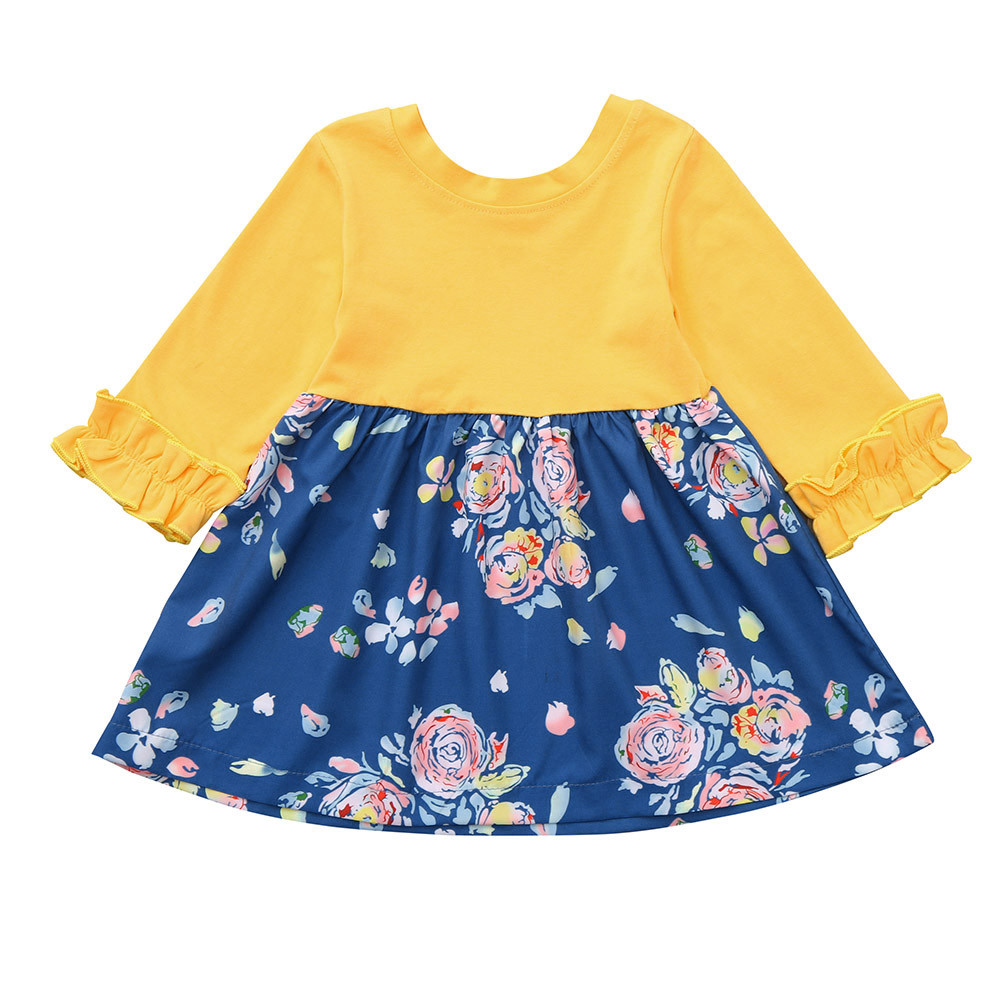 2018 Comfortable Cotton Kids dress Children Clothes Toddler Baby Girls Long Sleeve Floral Printing Dress Outfit Dresses Clothes