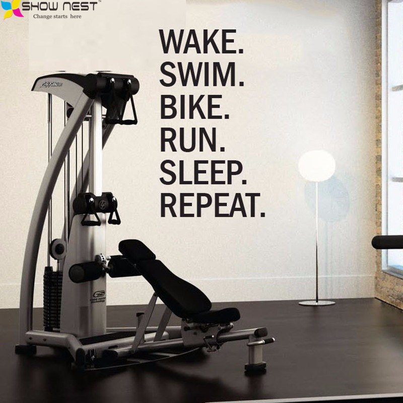 Triathlon Motivational Wall Decal Wake Swim Bike Quotes Wall