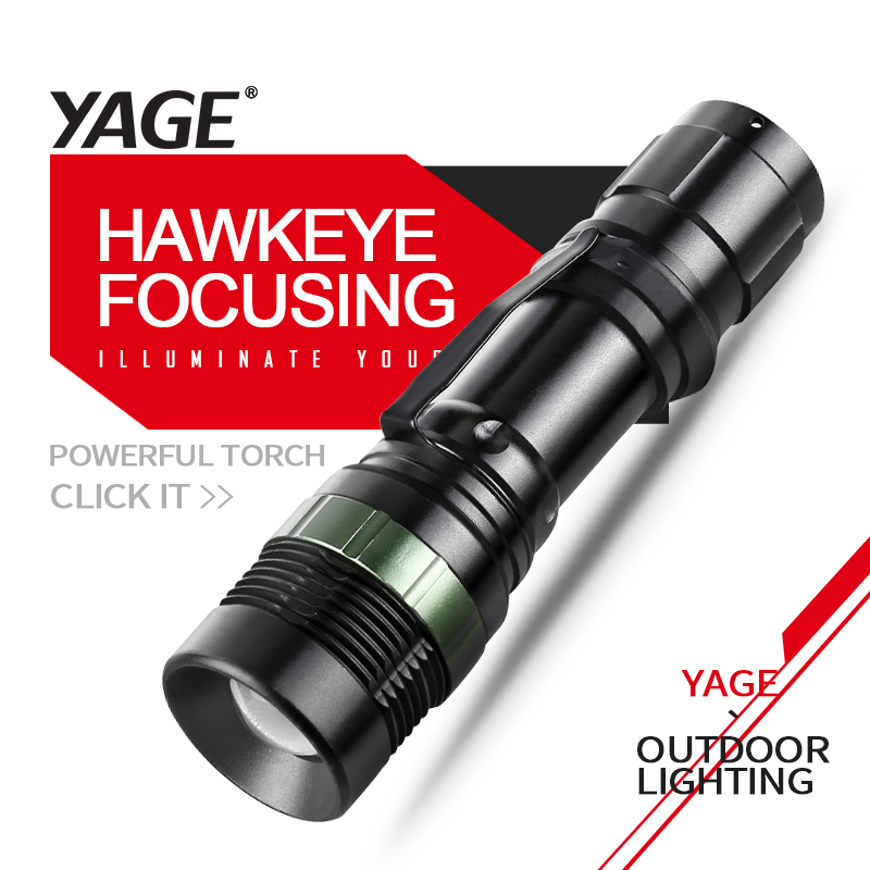 YAGE YG-338C Lukturītis XP-G Lukturis Lukturis CREE LED lukturītis Lukturis 18650 akumulatoram vai AAA rokas lampas lukturim