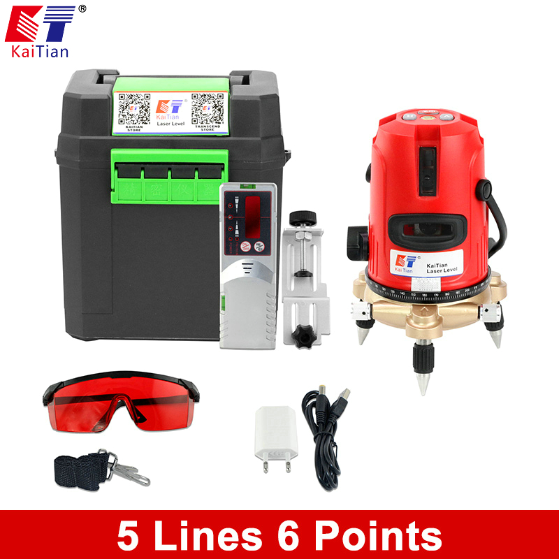 Kaitian Line Laser Lazer Level 5 Lines 6 Points Receiver Horizontal Vertical Level Scale Tilt  360 Degree Bracket Laser Leveling quality mtian level laser 5 lines 6 points instrument levels 360 self rotary 635nm corss line lazer level tools fast delivery