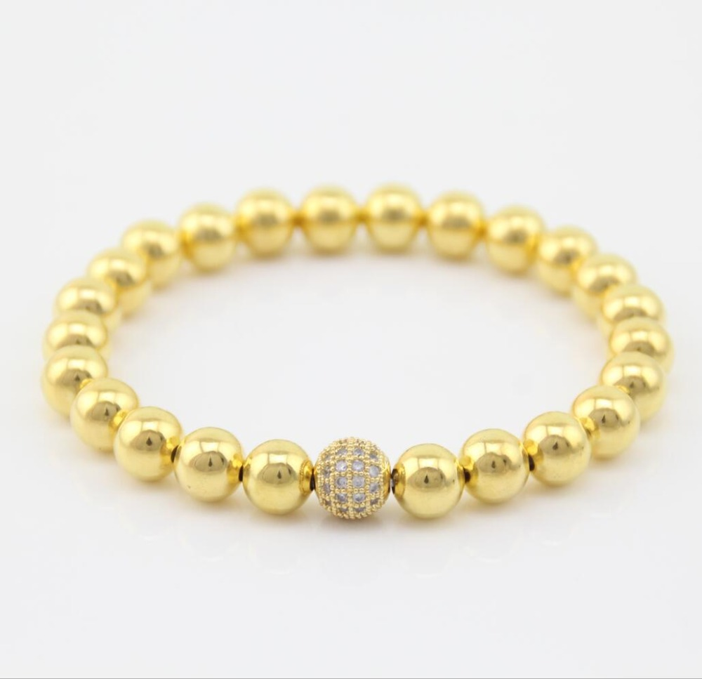 Hot ladies men copper crystal ball 8mm Brass beads friendship stretch handmade bracelet jewelry bb0765