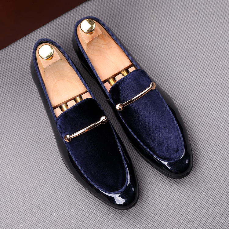 2018 men slip on formal shoes soft leather +black blue cotton Oxfords Dress wedding wingtip Brish style Loafers shoes 42