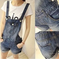 2016 new fashion woman denim shorts strap loose bead one piece overalls blue Jumpsuits & Rompers women jeans overalls Z1025