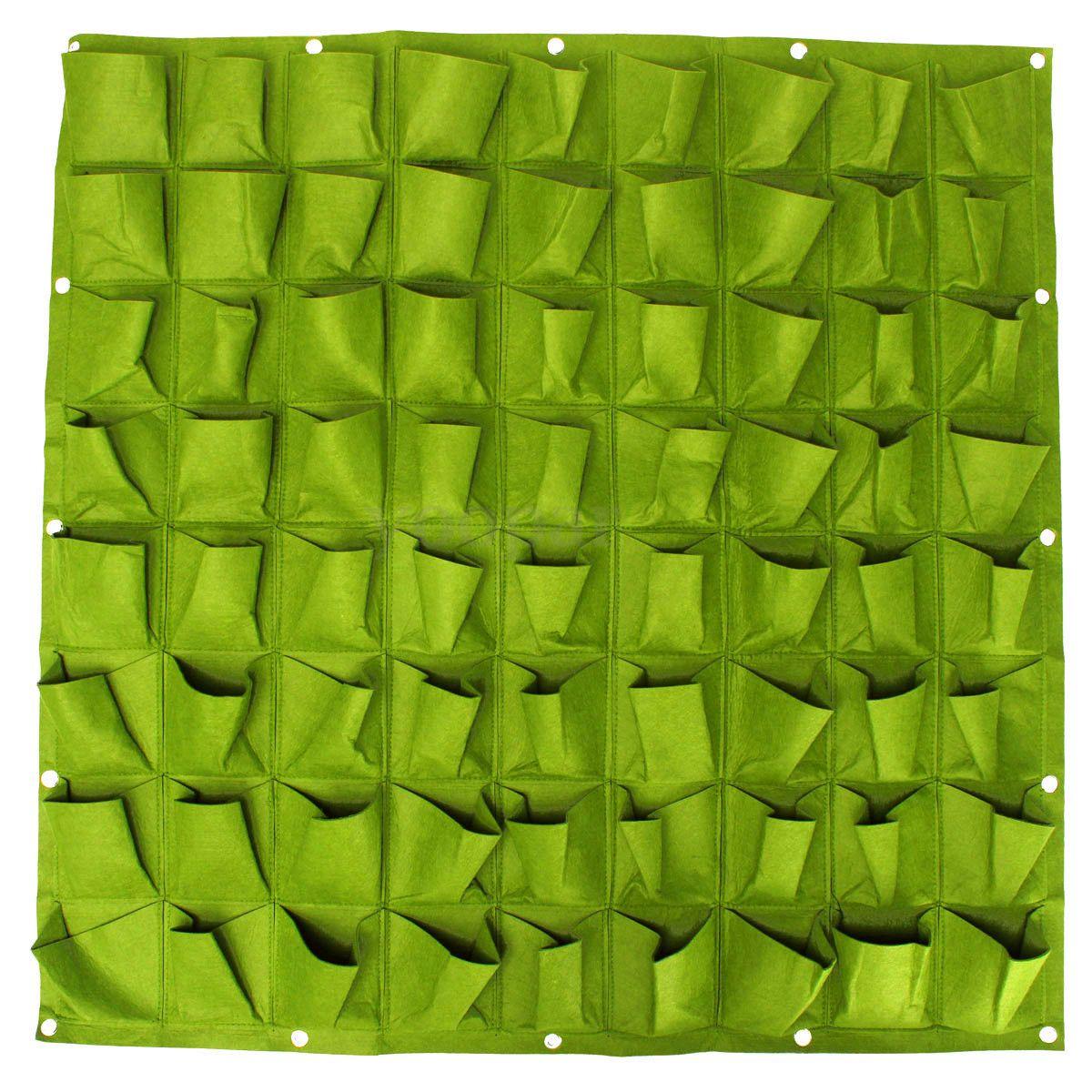 72 Pocket Trồng Bag Tường Cây Xanh Dọc Treo Vườn Ngoài Trời Nhà Máy 1*1 M (Màu Xanh Lá Cây)