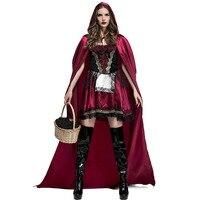 Umorden Women's Little Red Riding Hood Costume for Women Adult Halloween Classic Fairy Tale Costumes Cosplay Floor Length Dress