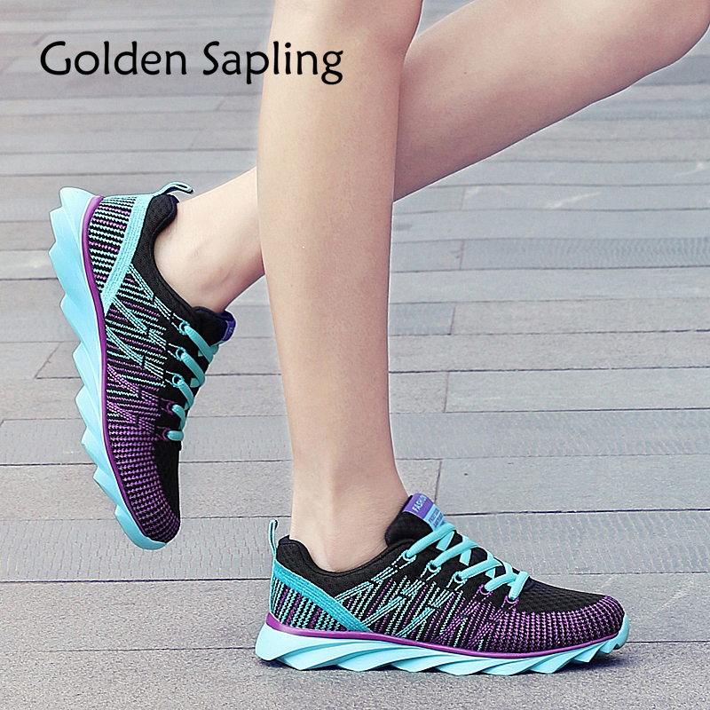 Golden Sapling Womens Tennis Shoes Woman Sneakers Breathable Fabric Air Mesh Lace Women's Sneakers Top New Sport Shoes for Women цена