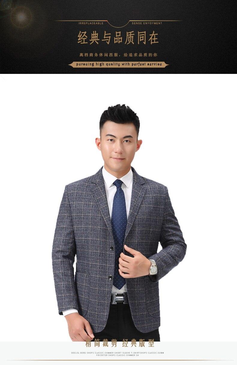 WAEOLSA Men Plaid Blazers Gray Jacket Suit Man Spring Autumn Outfits Plus Size Blazer Male Jacket Suit 2 Buttons Garment (2)
