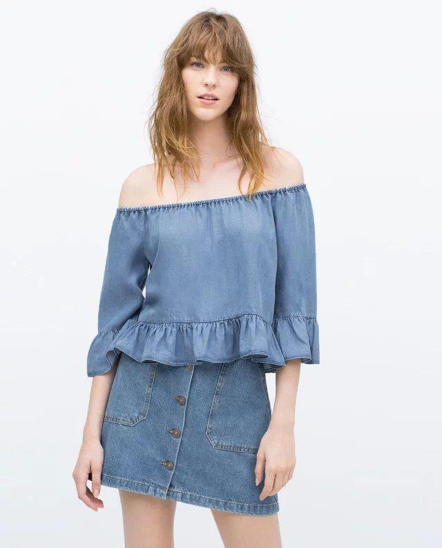 ZA 2015 Women Blue Denim ELASTIC OFF THE SHOULDER TOP fashion Jean strapless 3/4 length sleeves ...