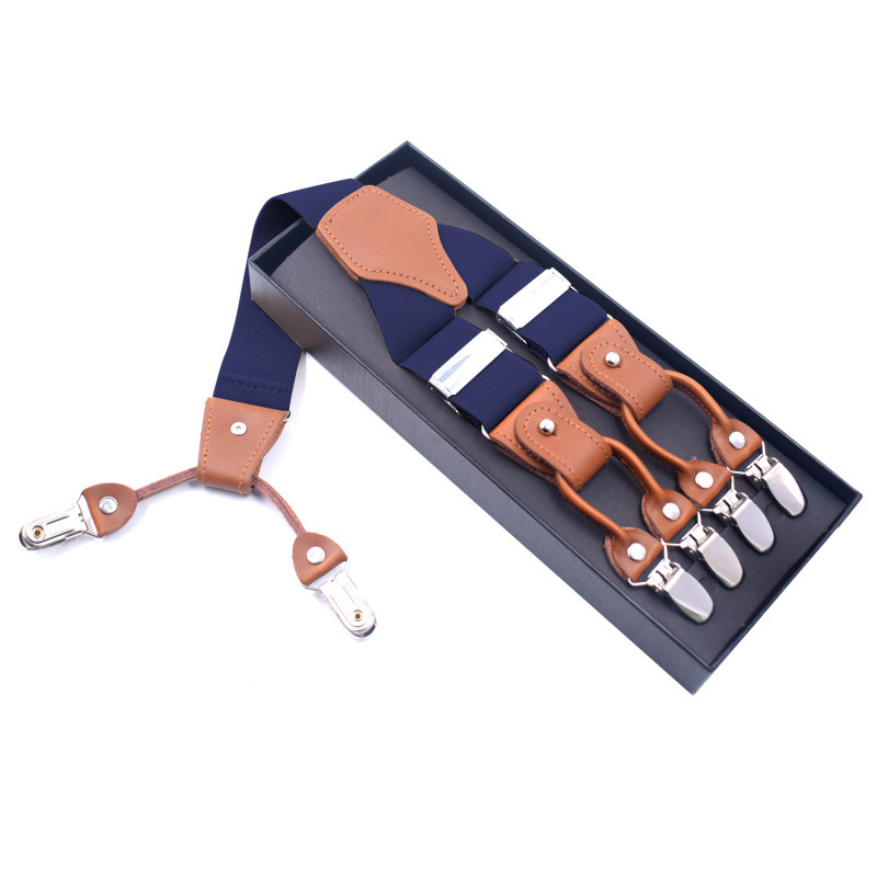 2019 New Personality Casual Temperament Adult Men 6 Clip Strap Elastic Top Layer Leather Adjustable Y-shaped Cross Hang Belt