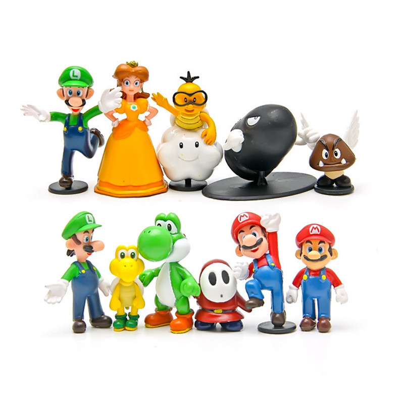 Super mario bros 12pcs/set  2-3cm mini mario Luigi yoshi dinosaur mushroom Figure toy PVC action figure model Decoration